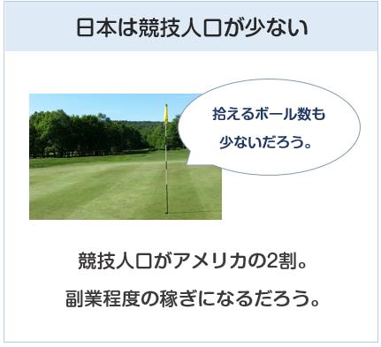 日本はゴルフの競技人口が少ないので、稼げないだろう