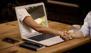 パソコン 握手