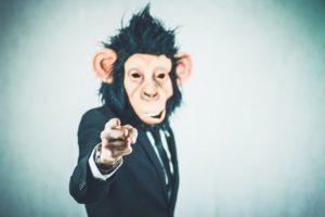 指さし 猿 男性